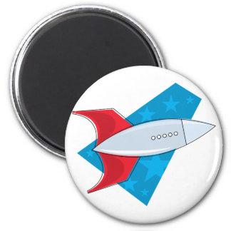 Retro Rocket Ship Refrigerator Magnet