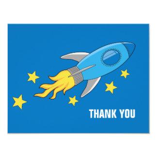 Retro Rocket Ship Thank You Card 11 Cm X 14 Cm Invitation Card