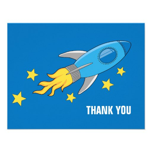 Retro Rocket Ship Thank You Card Personalized Invitation