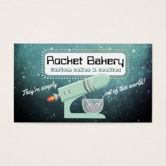 Retro rocket stand mixer bakery business card