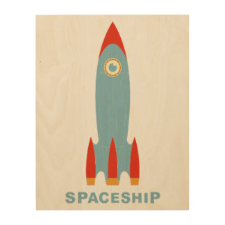 Retro Rocket Wood Prints
