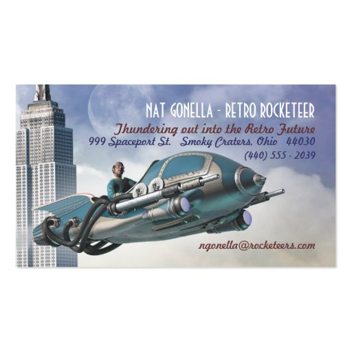 Retro Rocketeer Business Cards