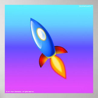 Retro rocketship poster