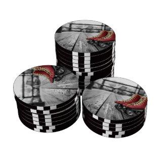 Retro roller skates set of poker chips