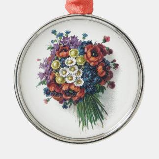 Retro Romantic Colorful Vintage Floral Bouquet Silver-Colored Round Decoration