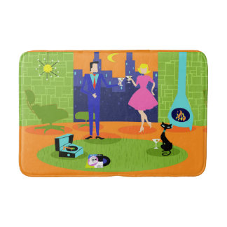 Retro Romantic Evening Couple Bath Mat
