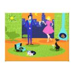 Retro Romantic Evening Couple Canvas Print