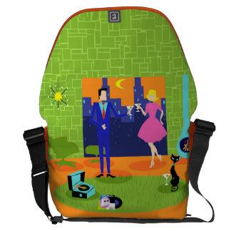 Retro Romantic Evening Couple Messenger Bag
