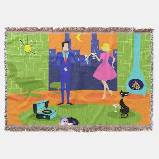 Retro Romantic Evening Couple Throw Blanket
