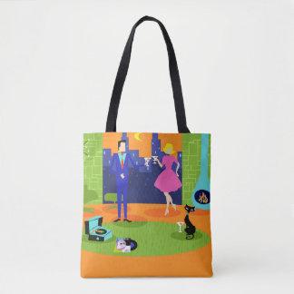 Retro Romantic Evening Couple Tote Bag
