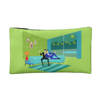 Retro Romantic Gay Couple Cosmetic Bag
