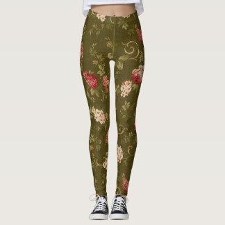 Retro rose and olive leggings
