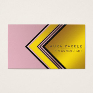 Retro Rose Gold Geometrical Finance Modern Business Card