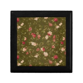 Retro rose & olive pattern small square gift box