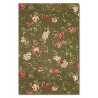 Retro rose & olive pattern tissue paper