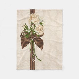 Retro Rose Ribbon Small Fleece Blanket
