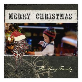 Retro Rose Zebra Black Christmas Photo Card 13 Cm X 13 Cm Square Invitation Card