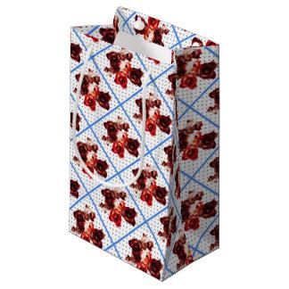 Retro rosebuds on dots small gift bag