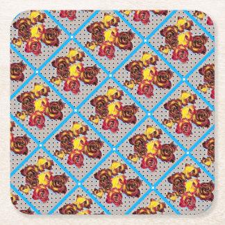 Retro rosebuds square paper coaster