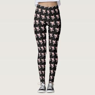 Retro-Roses-Pink-Black-Stylish-XS-XL Leggings