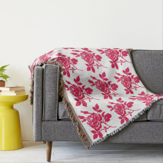Retro-Roses-Red(c)_Vintage Throw Blanket