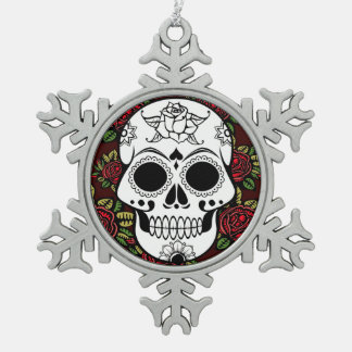 retro roses sugar skull pewter snowflake ornament