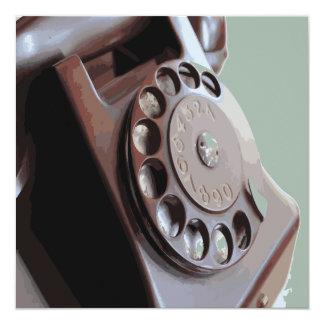 Retro Rotary Dial Phone Vintage Design 13 Cm X 13 Cm Square Invitation Card