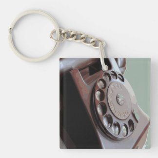 Retro Rotary Dial Phone Vintage Design Double-Sided Square Acrylic Key Ring