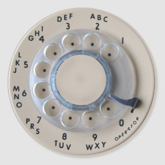 Retro Rotary Phone Dial Classic Round Sticker