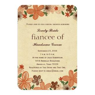 Retro Rust Orange Flowers Bridal Shower Invitation