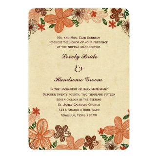 Retro Rust Orange Flowers Catholic Wedding Personalized Announcement