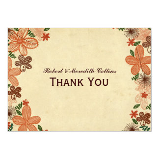 Retro Rust Orange Flowers Personalized Thank You 11 Cm X 16 Cm Invitation Card
