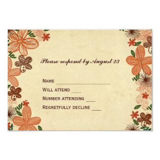 Retro Rust Orange Flowers RSVP 9 Cm X 13 Cm Invitation Card