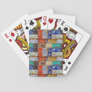retro rusty license plate collection playing cards