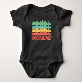 Retro Sacramento CA Skyline Pop Art Baby Bodysuit