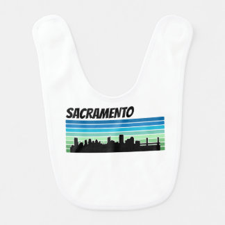 Retro Sacramento Skyline Baby Bib