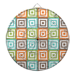 Retro Sage Green, Orange, Teal, and Brown Squares Dartboard With Darts