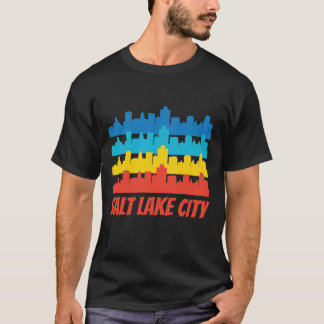 Retro Salt Lake City UT Skyline Pop Art T-Shirt