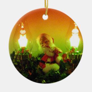 Retro Santa and Bubble Lights Round Ceramic Decoration