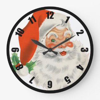 Retro Santa Claus and Holly Large Clock