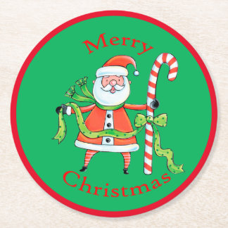Retro Santa Claus Candy Cane Christmas Round Paper Coaster