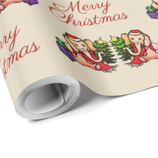 Retro Santa Elephants Nostalgic Merry Christmas Wrapping Paper