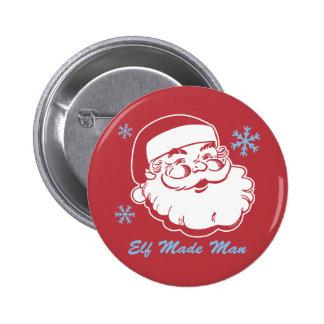 Retro Santa Elf Made Man Buttons