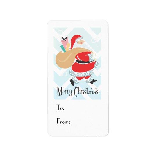 Retro Santa Holiday Gift Tag Address Label