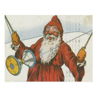 Retro Santa Playing With Toys Post Cards