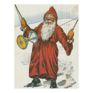 Retro Santa Playing With Toys Postcard