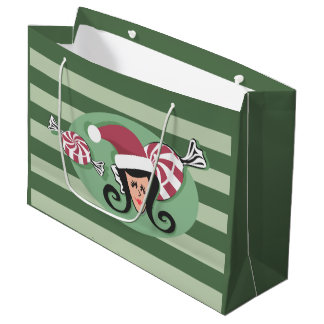Retro Sara Santa and Peppermints Large Gift Bag