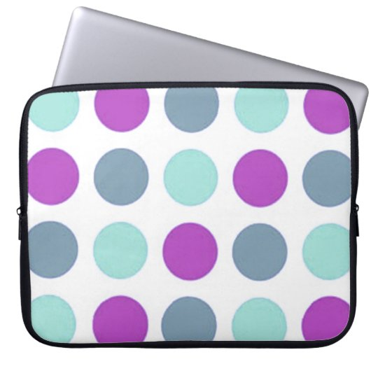 Retro Sassy Sissy Violet Teal Polkadot Girly Laptop Sleeve