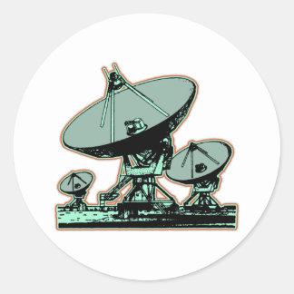 Retro Satellite Dish Graphic Classic Round Sticker