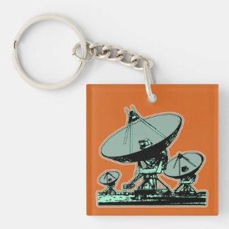 Retro Satellite Dish Graphic Key Ring